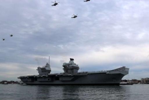 HMS Queen Elizabeth Stuck In Port Due To Bad Weather