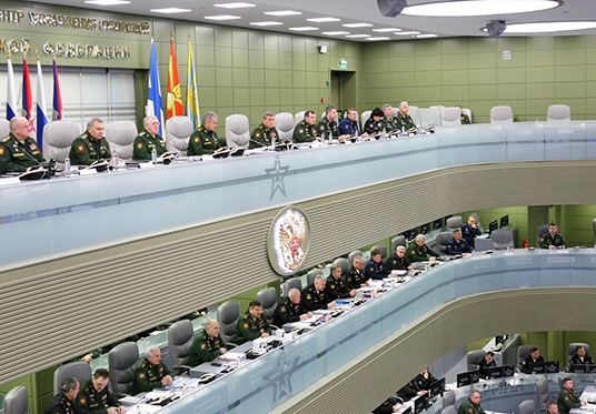 Russian Minister of Defence General of the Army Sergei Shoigu Holds Teleconference with Armed Forces Leadership
